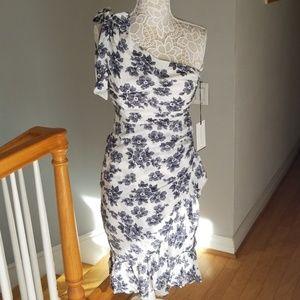 One shoulder floral midi dress NWT